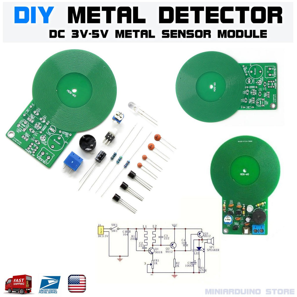 Metal Detector Metal Locator DIY Kit 3V-5V DC Treasure Hunting Scanner 60mm - eElectronicParts