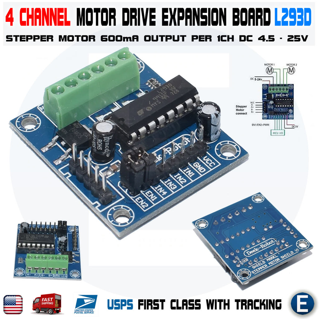 4 Channel Mini Motor Drive Shield Expansion Board L293D Module for Arduino - eElectronicParts