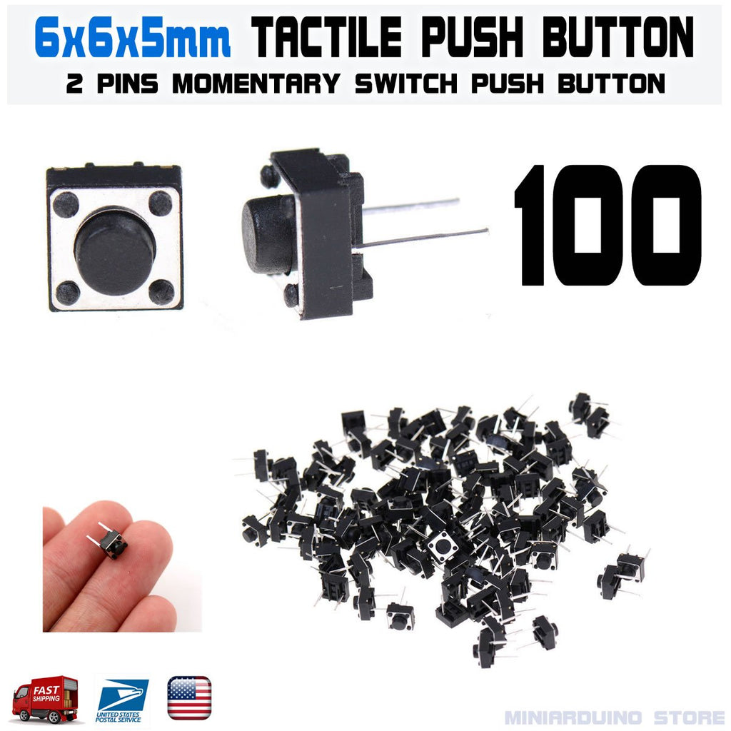 100Pcs 6x6x5mm 2 Pin PCB Momentary Tactile Tact Push Button Switch DIP Micro - eElectronicParts