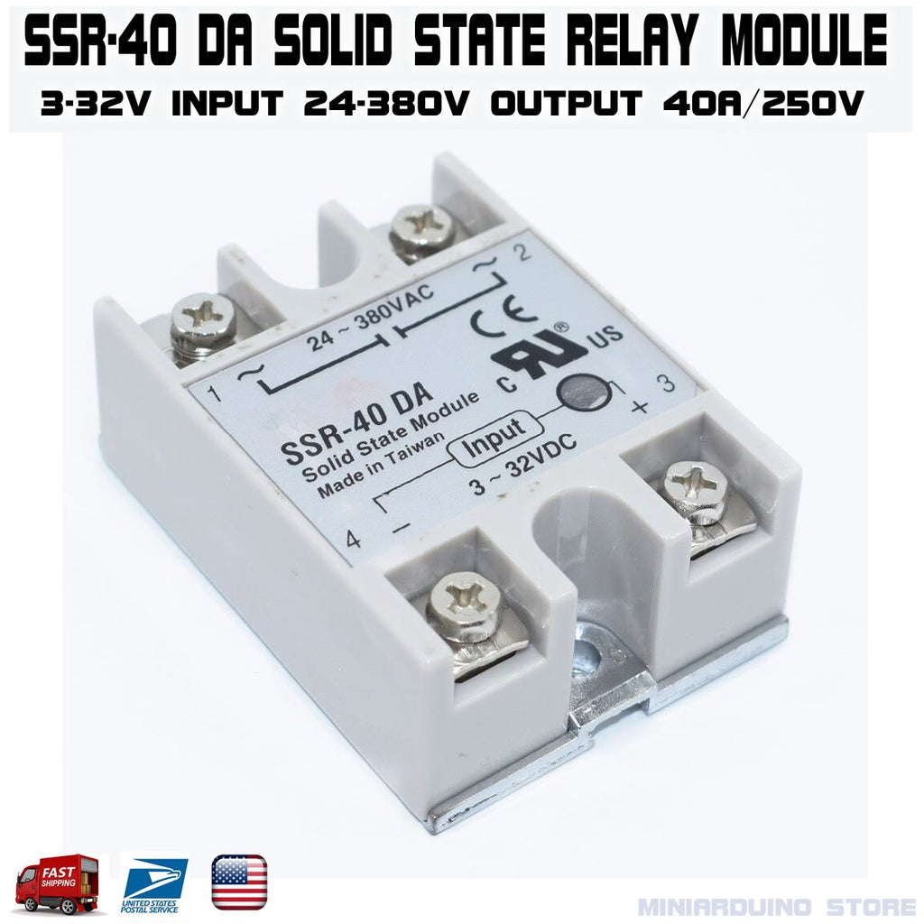 SSR-40DA Solid State Relay Module 3-32V DC Input 24-380VAC 40A - eElectronicParts