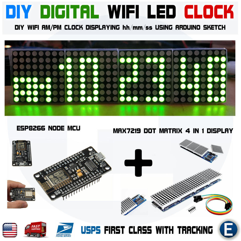 DIY Digital Arduino Clock WIFI GREEN LED Dot Matrix ESP8266 MAX7219 - eElectronicParts