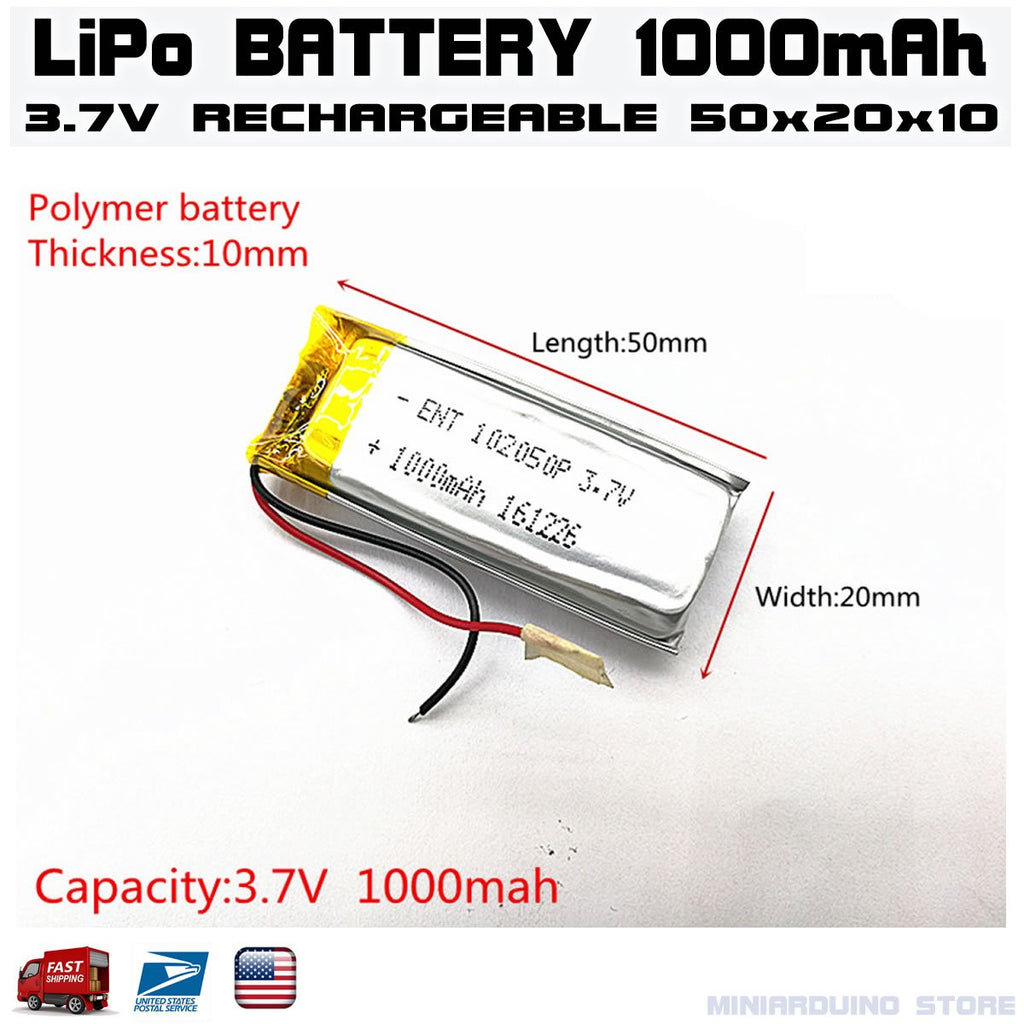 3.7V 1000mAh 102050 lithium polymer lipo Rechargeable battery - eElectronicParts