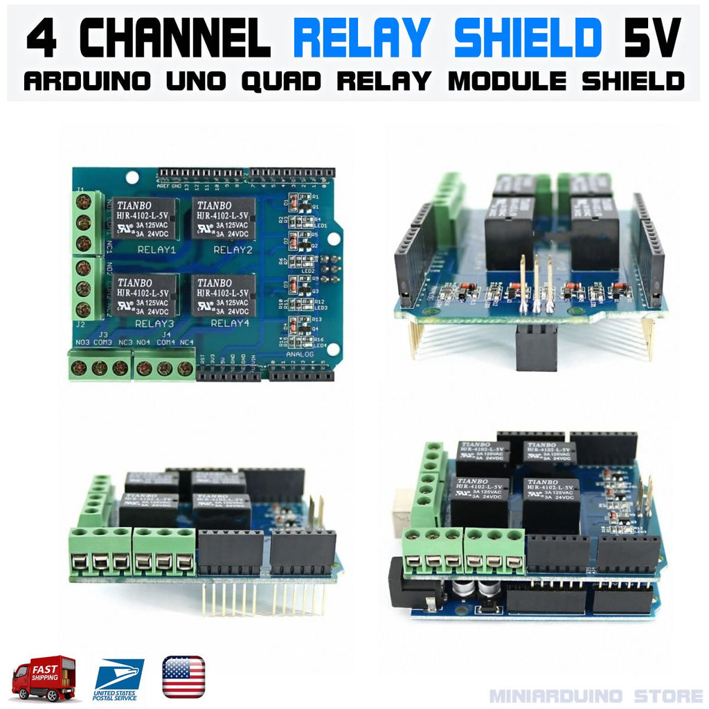 Relay Shield 5V 4-channel 4CH relay QUAD module Arduino UNO R3 - eElectronicParts