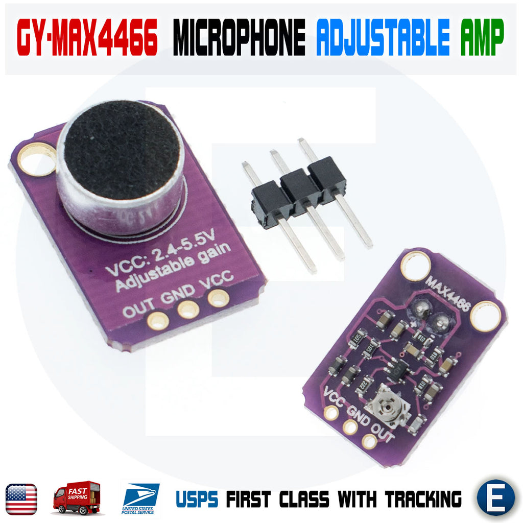 GY-MAX4466 electret microphone amplifier MAX4466 adjustable amplifier module - eElectronicParts