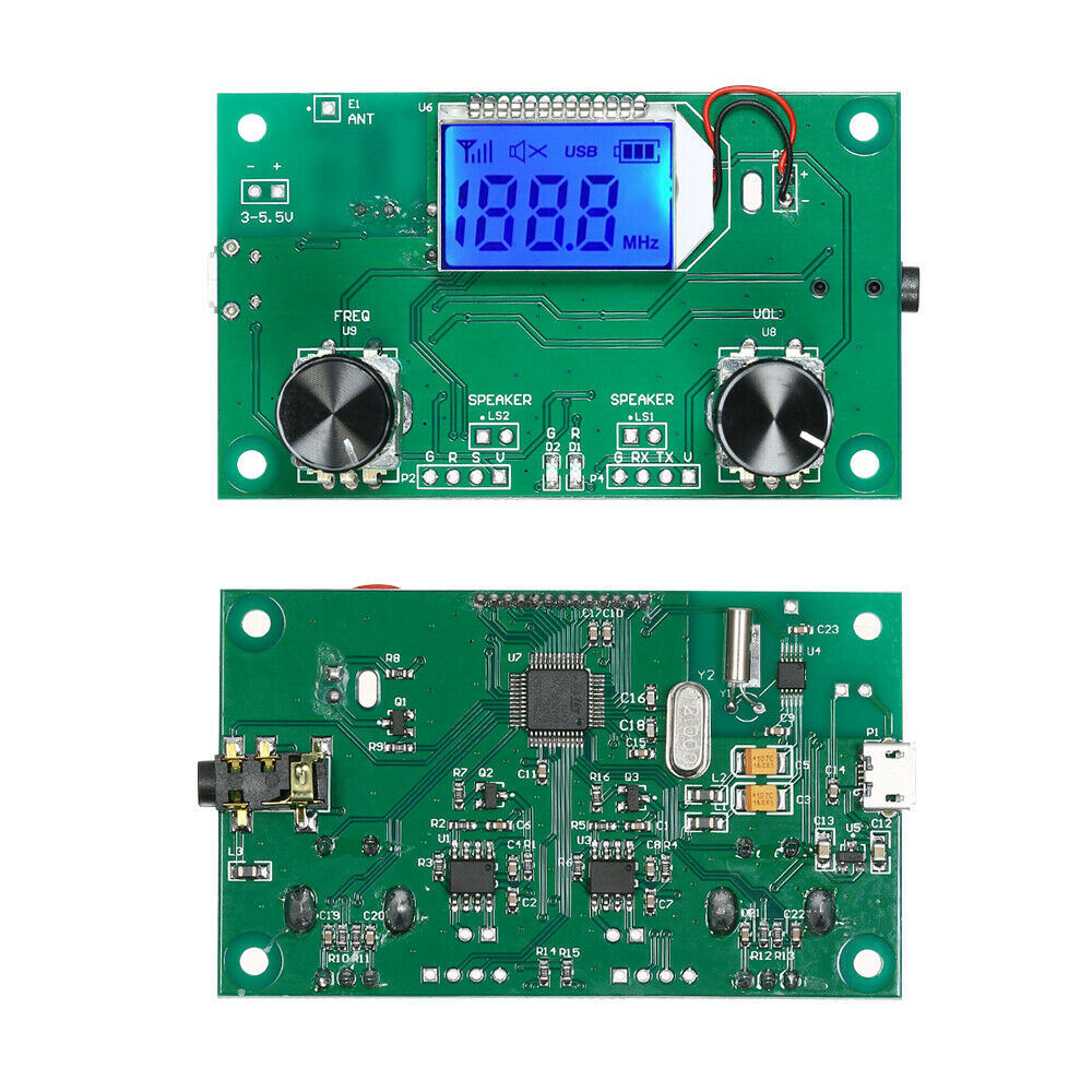 DIY FM Radio Wireless Receiver Module LCD Display DSP PLL 87.0MHz-108.0MHz with Rotary Potentiometer - eElectronicParts