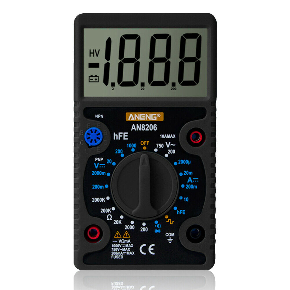 ANENG AN8206 large LCD Screen Digital Multimeter 1999 counts AC/DC voltage black - eElectronicParts
