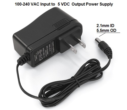 Power Supply Adapter DC 5V 2A US Plug AC Converter 5.5mm x 2.1mm - eElectronicParts