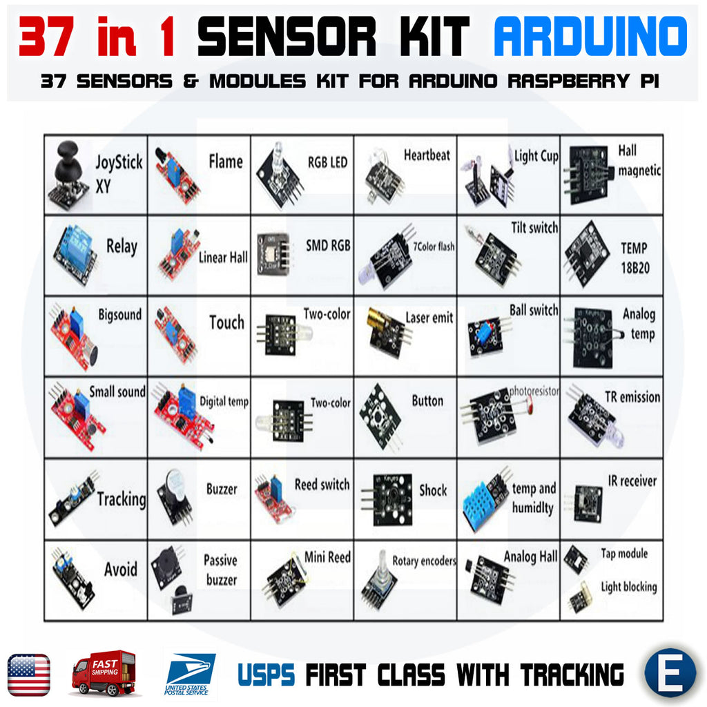 Arduino UNO Ultimate Kit 37 in 1 Sensors MB102 830 Breadboard 65pcs jumper cable USB - eElectronicParts