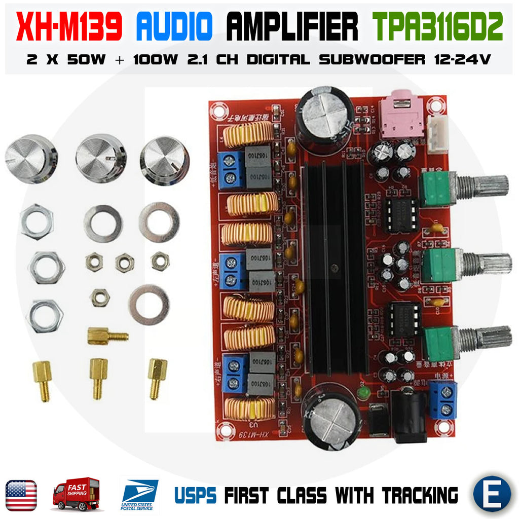 XH-M139 Amplifier Board TPA3116D2 50Wx2+100W 2.1 Channel Digital Subwoofer 12-24V - eElectronicParts
