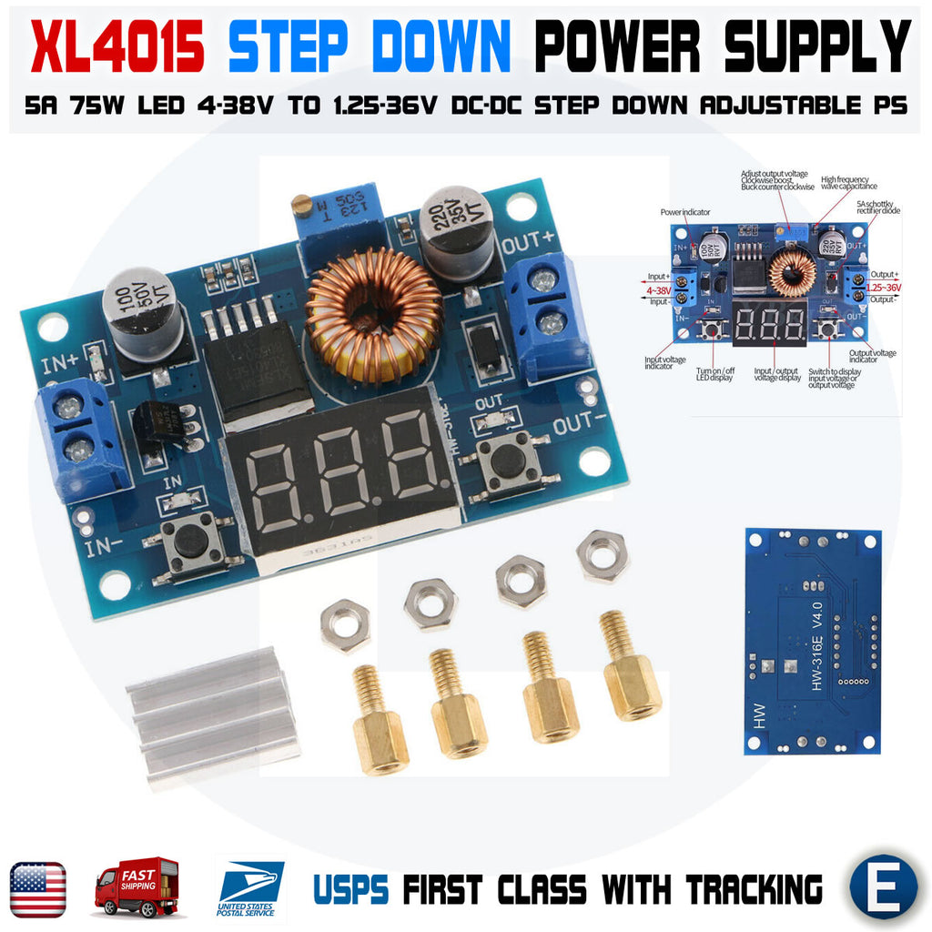 XL4015 5A High power 75W DC-DC adjustable step-down module+LED Voltmeter Power supply module - eElectronicParts