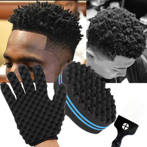 Barber Shop Men Hair Braider Twist Sponge Gloves African Hair Styling Fork Comb Hair Curls Foam For Salon