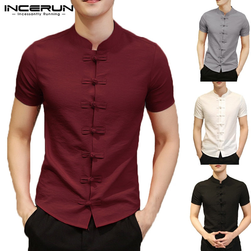 2019 Vintage Mens Shirts Dress Short Sleeve Button Down Slim Fit Summer Chinese Style Tee Tops Male Clothing Camisas Masculina