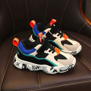 2019 Winter Kids Sports Shoes Children Casual Boys Patchwork Sneaker Fashion Autumn Graffiti Girls Student Boots Anti-Slippery