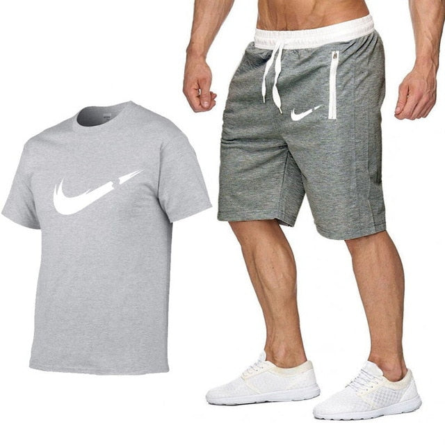 2019 new T Shirt+Shorts Sets Men Letter Printed Summer Suits Casual Tshirt Men Tracksuits Brand Clothing Tops Tees Set Male