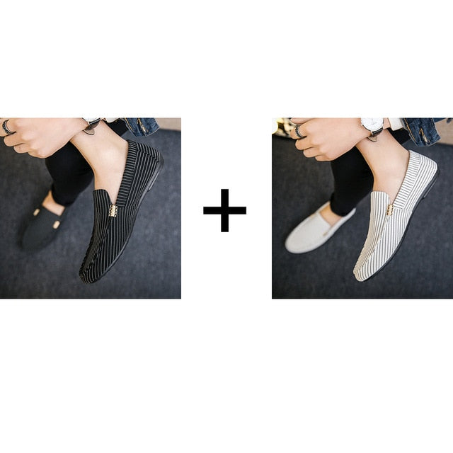 Plus Size Size 38-46 Leisure Soft Comfy Men Loafers Canvas Classics Flat Driving Shoes Concise Retro Slip On Shoes 2 Pairs