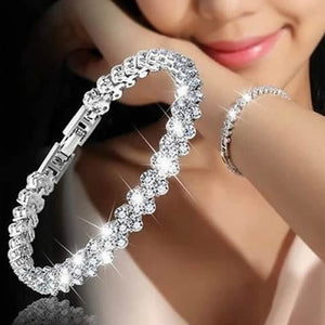 Fashion Temperament Gold Silver Roman Women Chain Crystal Bracelets Rhinestone Women Bracelet Harajuku Wedding Bracelets Gifts