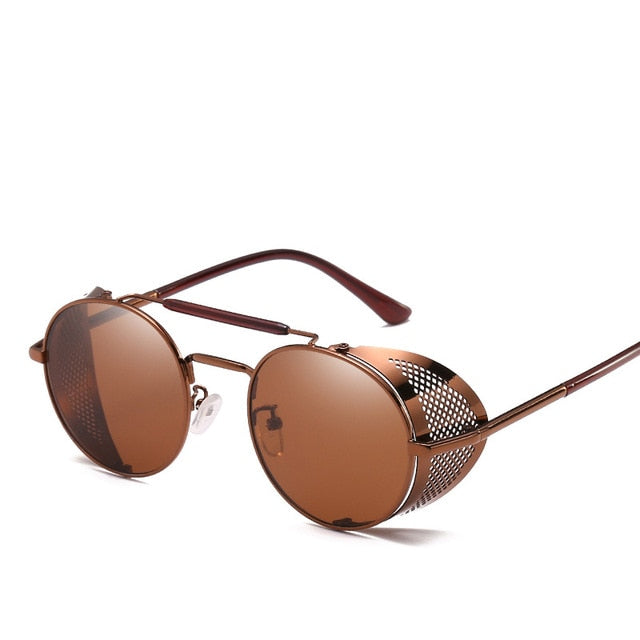 MuseLife Retro Round Metal Sunglasses Steampunk Men Women Brand Designer Glasses Oculos De Sol Shades UV Protection