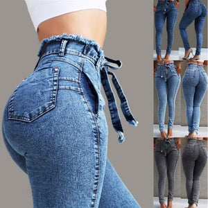 Spring hot new elastic ladies jeans fashion personality high waist trousers slim trousers casual female jeans feet women jeans