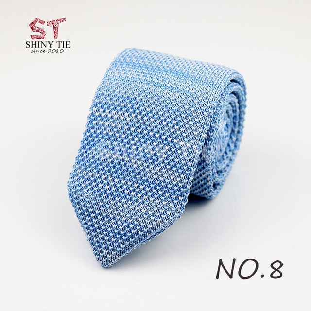 Yiyanyang Classic Knitted Tie Solid Color 6.5CM Neck Ties For Men Dot Striped Triangle Woven Cravat Winter Party Accessories