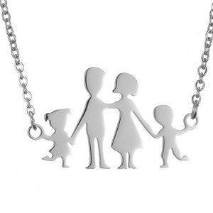Stainless Steel Mama Papa Kids Family Necklace