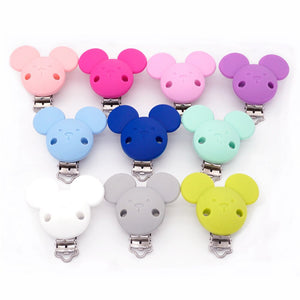 Sutoyuen 10 pcs BPA Free Silicone Mickey Dummy Teether Pacifier Chain Clips DIY Baby Chewable Jewerly Nursing Toy Accessories