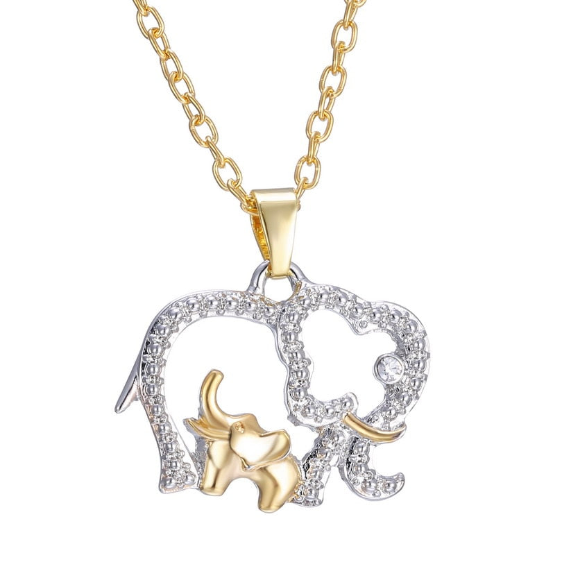 Elephant Necklaces Jewelry for mother gift Hot Gold Silver Plated Crystal Animal Elephant with Baby Pendant new year gifts