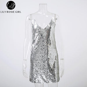Deep V Neck Silver Sequined Backless Sexy Dress Women Off Shoulder Mini Dress