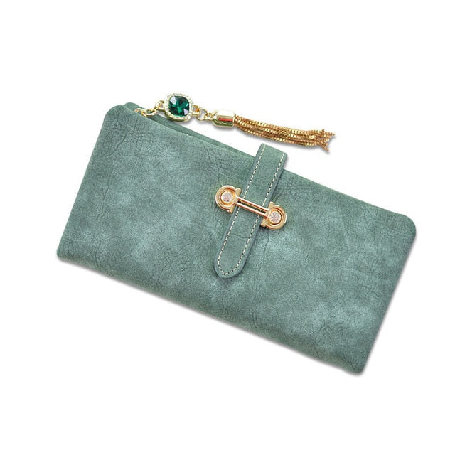 2018 Dull Polish Retro Leather Women Wallet Long Purse Vintage Solid Multiple Cards Holder Clutch Bags Fashion Standard Wallet