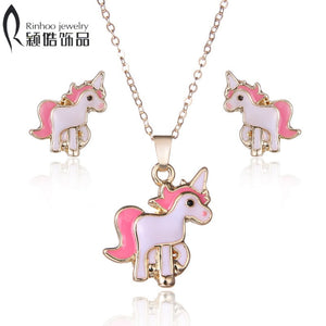Hot Sale pink Animal Jewelry Set Chain Kids Jewelry Cartoon Horse Necklace Earring jewelry Sets for Girls best gifts