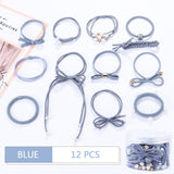 12Pcs/Set High Elastic Hair Bands Solid Pearl Stretch Hair Ties For Women Girls Ponytail Holder Hair Ropes Hair Accessories