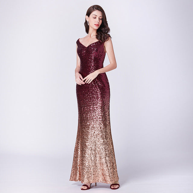 New Burgundy Prom Dresses Long Elegant Sleeveless Scoop Sequined Sparkle Mermaid Party Gowns Sexy Vestido Largo De Fiesta 2019
