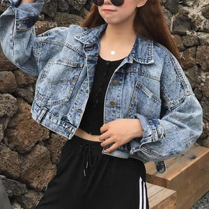 Vintage Cropped Short Jacket Casual Women Blue Denim Jackets Long-Sleeve Jeans Coats