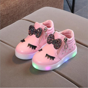 Kids Baby Infant Girls Crystal Bowknot LED Luminous Boots Shoes Sneakers Butterfly knot diamond Little white shoes
