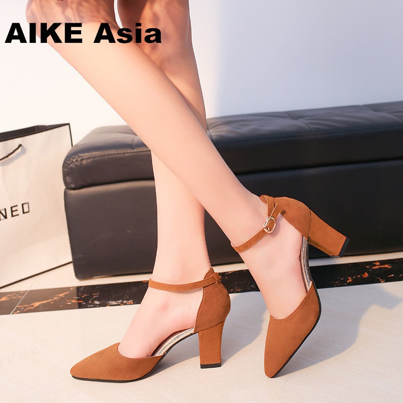 HOT SummerSandalias Femeninas High Heels Flock Pointed Sandals Sexy Female Summer Shoes Mujer  Zapatos Mujer Pumps  2019