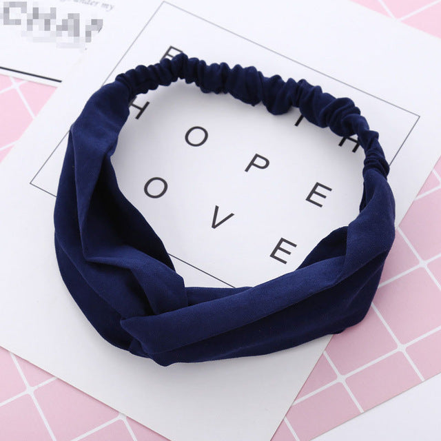 Women Spring Autumn Suede Headband Vintage Cross Knot Elastic Hair Bands Soft Solid Girls Hairband Hair Accessories