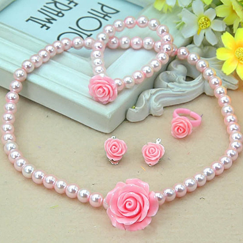 New Design Child Girls Jewerly Set  Faux Pearl Pink Girl Kids Jewelry Set Rose Flower Necklace Bracelet Ring 3 Styles Jewelry