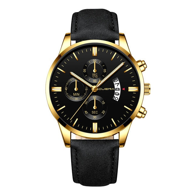 2019 relogio masculino watches men Fashion Sport Stainless Steel Case Leather Band watch Quartz Business Wristwatch reloj hombre