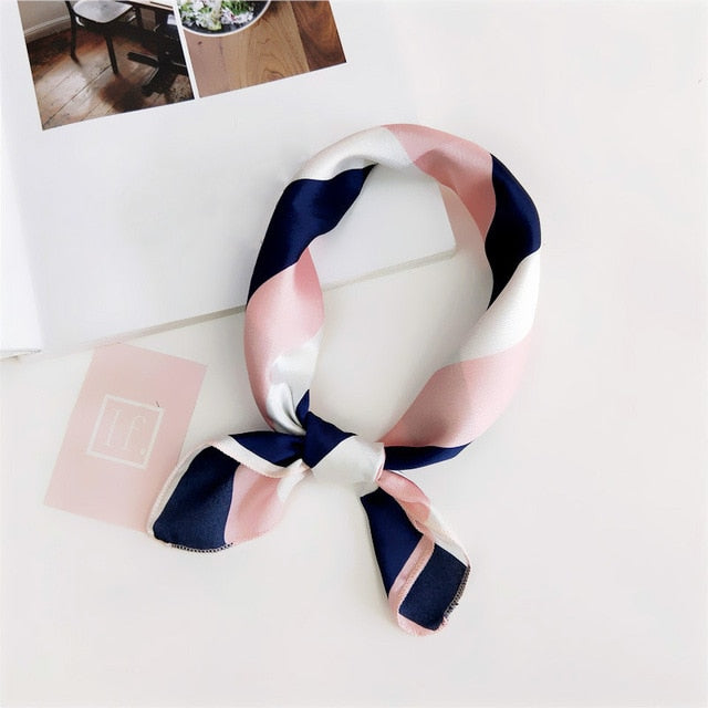50*50cm Women Scarf Fashion Spring Summer Striped Silk Square Scarves Girls Printed Handkerchief Chiffon Scarf Neck Accessory