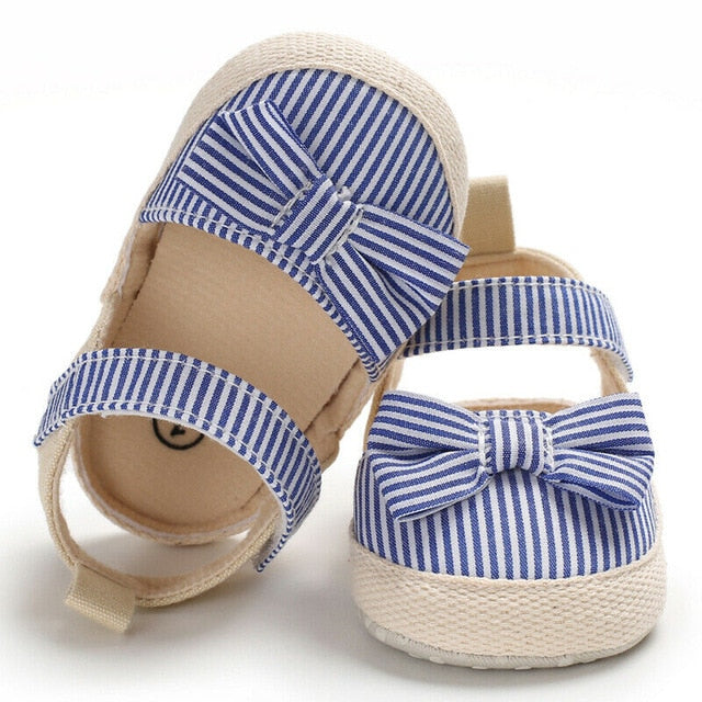 2019 Children Summer Shoes Newborn Infant Baby Girl Boy Soft Crib Shoes Infants Anti-slip Sneaker Striped Bow Prewalker 0-18M