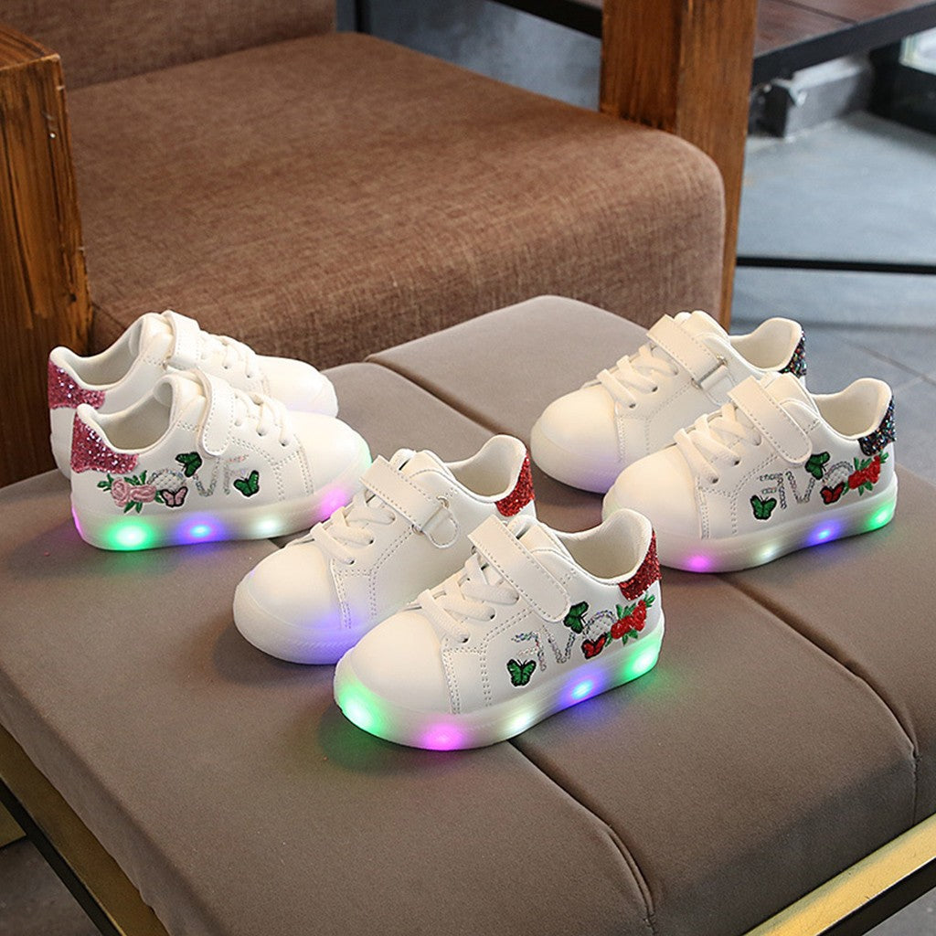 MUQGEW 2019 New Fashion Children Baby Girls Boys Lighted Sport Shoes Squeins Flower Butterfly Led Light Luminous Sport Shoes 25