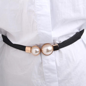 Fashion Thin PU Leather Belt Simulated Pearl Elastic Waist Belts Women Dress Skirt Decoration Fashion Girles Gifts