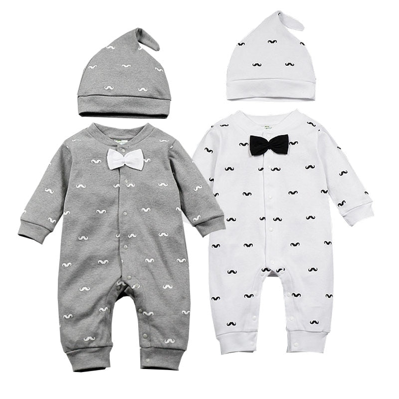 2019 Spring New Baby Boy Clothes Beard Print Fashion Romper+Cap 2pcs/set Newborn Toddler Baby Clothing Set Bebes Outfits 0-1T
