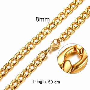 FILLED SOLID BOXCHAIN CHUNKY CUBA LINK CHOKER HEAVY NECKLACE IN STAINLESS STEEL MALE  FEMALE JEWELRY
