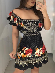 Stylish Off Shoulder Floral Print Ruffles Dress
