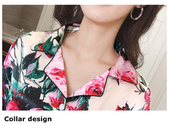 Women Pajamas Faux Silk Pajamas Set Flower Print Long Sleeves 2 Piece