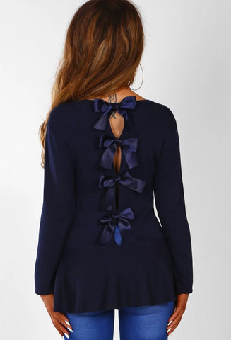 Hollow Out Bowknot Back Long Sleeve