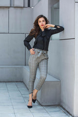 Elastic waist Plaid Belted Women Pants