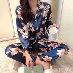 Faux Silk Pajamas Set