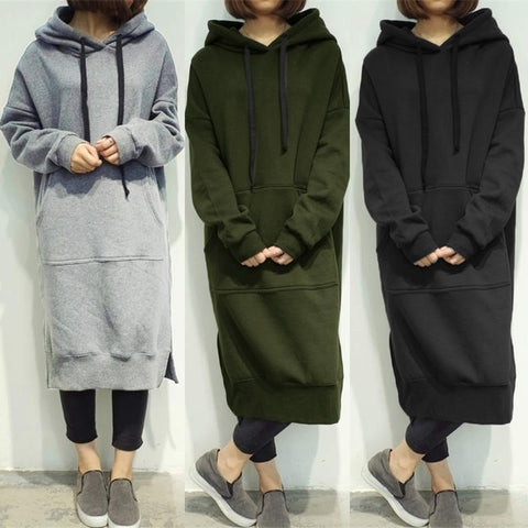 Loose Long Hoodies Autumn Solid Color Sweatshirt Dress