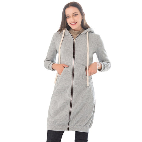 Women Long Hoodies Zip-up Sweatshirt